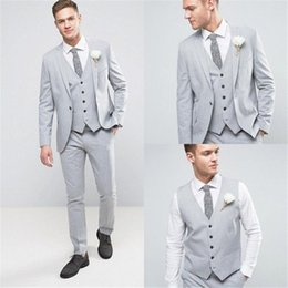 Wholesale groom tuxedo summer for sale - Group buy Handsome One Button Groomsmen Notch Lapel Groom Tuxedos Men Suits Wedding Prom Dinner Best Man Blazer Jacket Pants Tie Vest