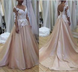 Lavender Blush Wedding Dress Australia - 2019 Blush Pink Wedding Dresses For Western Country Garden Sheer Long Sleeve Appliqued Corset Back Summer Boho Bride Wedding Gowns