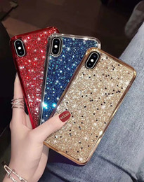 Cover for iphone glitter water online shopping - In Stock For Iphone Plus XS MAX XR Glitter Bling Electroplated Bumper Bling Soft TPU PC Shockproof Phone Cover Case