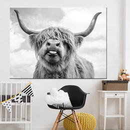 ingrosso stampa arti mucca-Black White Highland Cow Bestiame Canvas Art Nordic Paintings Poster e stampa Scandinavian Wall Picture per soggiorno