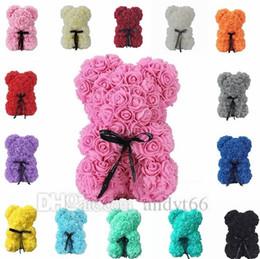 Ingrosso 25cm Soap Foam Rose Bear Teddi Bear Rose Flower Artificiale per le donne Regalo di San Valentino Christmas Plush Bear Party Decoration 4687