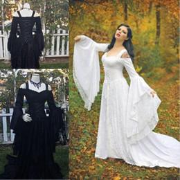 Vintage Lace Corset Wedding Dress Australia - Vintage Gothic Wedding Dresses A Line Medieval Off Shoulder Straps Long Sleeve Corset Bridal Gowns with Court Train Lace Wedding Dress