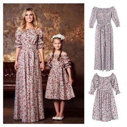 dd77b8e38e3 2019 Print Floral Mother daughter dresses Half Sleeve Family Matching  Outfits Ankle-length and belt dress fashion hot Sale