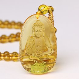 $enCountryForm.capitalKeyWord Australia - Roing Citrine Necklace Pendant Natural Stone Buddha Guardian Bead Chain Lucky Gift For Women Men Crystal Gravity Jewelry F003