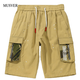 mens baggy hip hop shorts NZ - MUSVER Hip Hop Multi Pockets Cargo Baggy Shorts Streetwear Mens 2019 Summer Casual Khaki Short Pants Fashion Male Trousers