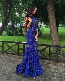 $enCountryForm.capitalKeyWord Australia - 2019 Royal Blue Lace Prom Dresses Sparkly Crystals Open Back Sleeveless Mermaid See Through Women Pageant Evening Gowns Long Party Dresses