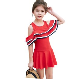 470886afb81 Swimsuits Removable Pads UK - Girls Double Ruffle Two-Pieces Swimsuit Dress  2019 Summer Removable