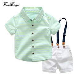 $enCountryForm.capitalKeyWord Australia - Tem Doger Summer Toddler Kids Boys Clothes Suit Green Shirt+overalls 2pcs Outfits Sets Child Boy Clothing Q190530