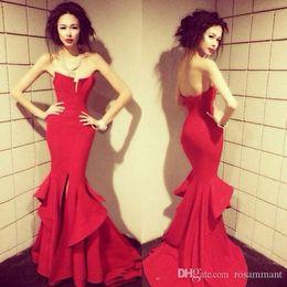 $enCountryForm.capitalKeyWord Australia - 2019 Custom Made Red Prom Dress Strapless Evening Dress Sexy Mermaid Sexy Ball Gown Side Slit Party Dress High Quality