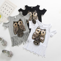 Wholesale Kids Girls Fashion Owl Long Fringe Pattern Tassel Short Sleeve T Shirt Tops Children Clothes