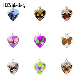 hand bag heart Australia - Vintage Butterflies Cap Printed Heart Stainless Steel Plated Charms Pendants Hand Craft Jewelry Bag Clothing Accessory