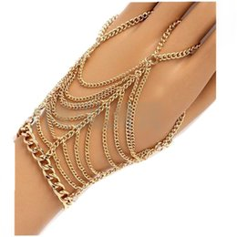 $enCountryForm.capitalKeyWord UK - Fashion Gold Chain Multi Layers Bracelet Dancer Ring Bracelets Hip Hop Punk Bracelet Woman Wedding Party Jewelry