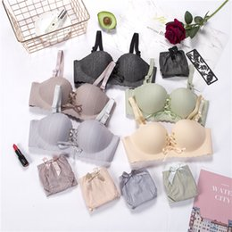 Wholesale girls thin strap bra resale online - 2020 Thin section Bra set women No Rims Bra gather straps drawstring adjustment girl sexy suit mid waist panties