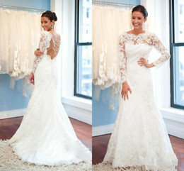 Lace Dress Applique Details Australia - 2019 Sexy Elegant Lace Long Sleeve Wedding Dresses White Sweep Train Mopping Long Section Tiers Applique Princess Wedding Gowns