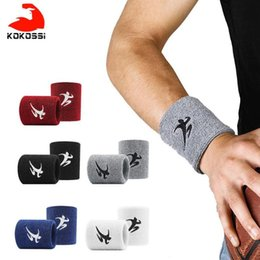 wristbands for gym NZ - KoKossi Cotton Elastic Wristbands Gym Fitness Gear Support Power Weightlifting Wrist Wraps for Basketball Tennis Badminton Brace