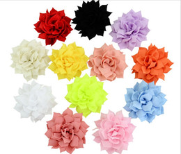 Chiffon Flower Hair Clips Wholesale Australia - Beautiful Solid Chiffon Flower With Cips Hairclip DIY Headdress Floral Hair Clip Barrette kids Hair Accessories Hairpins 727