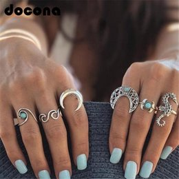$enCountryForm.capitalKeyWord Australia - docona Bohemian Silver Moon Sea Horse Finger Ring Set for Women Green Rhinestone Hollow Wave Knuckle Midi Rings 6pcs 1set 4023
