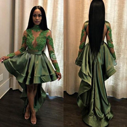 b3da38adaa59 Sexy African Olive Green High Low Black Girls Prom Dresses 2019 See Through  Appliques Sequins Sheer Long Sleeves Evening Gowns