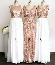 $enCountryForm.capitalKeyWord Australia - Rose Gold Stylish Chiffon Long Bridesmaid Dresses Sequin White Chiffon V neck jewel zipper Long Cheap Bridesmaid Party Prom Dress Cheap