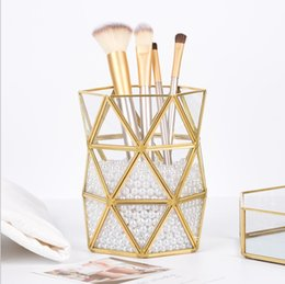 Beauty Bedding UK - Bathroom Golden storage Organizer tube,Home Office Pen Penceil Stand Holder,Nordic style Beauty Makeup brush storage Box tube ornaments