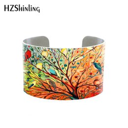 $enCountryForm.capitalKeyWord Australia - 2019 Trendy Funky Birds on Trees Bangle Metal Cuff Colorful Birds Painting Bracelet Adjustable Bangles Printed Jewelry Gifts Men