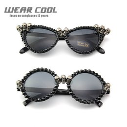 Round Skull NZ - 2019 Wear Cool Punk Rhinestone Sunglasses Cat Eye Women Skull Black Round Sun Glasses for Woman Party Festival Hip Hop Fashion