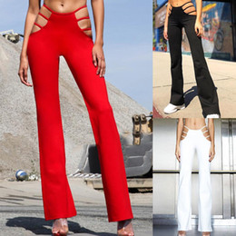 Wholesale thin sexy pants for sale - Group buy Sexy Cut Out Holes Womens Pants Slim Fit Sweat Skinny Solid Pants For Women Flare Hollow Out Thin Low Waist Wine Red Pants Hot