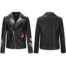 Wholesale wool leather motorcycle jacket for sale - Group buy Women Leather Jacket Casual Soft PU Zipper Coat Flora Embroidered Spring and Autumn Fashion Biker Motorcycle Slim Fit Jackets