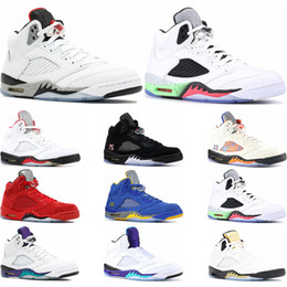 olympic sports summer 2019 - Hot New Mens basketball shoes 5s white cement black grape fresh prince International Flight olympic gold sports sneaker