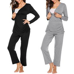 nursing tops maternity clothes UK - 2020 Women pregnancy clothes Maternity Long Sleeve Nursing T-shirt Tops+Striped Pants Pajamas Set Suit ropa verano mujer