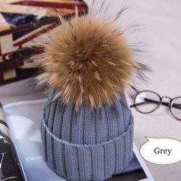 Red bobble hat online shopping - Hot Women Winter Racoon Fur Pom Pom cm Ball Knit Beanie Ski Cap Bobble Hat
