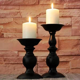 Metal Lanterns For Decorations Australia - Classic Black Candlestick Ornament Golden Iron Candle Holder Home Wedding Lantern Crafts Decoration For Dining Table 2 Pieces DHL