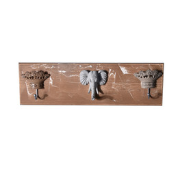 Home Key Rack Australia - European Retro Elephant Decorative Hooks Creative Wood Wall Key Hanger Key Holder Wall Hooks Coat Rack Home Storage Organization