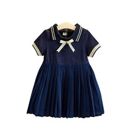 Chiffon Polo UK - INS Little Girls Polo Collar Knotted Tie Cotton Ruffles Dresses Blue A-line Short-sleeved Summer Quality Child Girls Students Clothing 3-8T