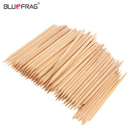 Wooden sticks online shopping - 100pcs orange stick Nail Art wooden sticks Cuticle Pusher Remover Nail Art Care Manicures Angled orange wood stick Nail Tools
