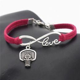$enCountryForm.capitalKeyWord Australia - Silver Infinity Love Shoot Basketball Hoop Rim Sport Pendant Charm fit Bracelets & Bangles Rose Red Leather Suede Rope DIY Women Men Jewelry
