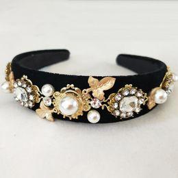 Crystal Headbands Australia - Baroque Queen Hair Jewelry Pearl Crystal Tiara And Crown Headband For Women multifunctional