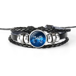 Personalized Bracelets Australia - Dropshipping 12 Constellations Zodiac Libra Time Gem Glass Cabochon Bracelets Personalized Genuine Leather Rope Beaded Jewelry for Women Men