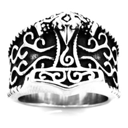 $enCountryForm.capitalKeyWord Australia - FANSSTEEL stainless steel vintage mens or wemens jewelry celtic viking THORS HAMMER RING TOOL RING FSR20W68