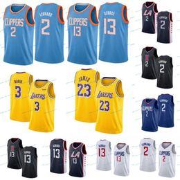 Опт NCAA Мужская футболка Энтони 3 Дэвис Леброн 23 Джеймс Кауи 2 Леонард Пол 13 Джордж Желтый Белый Черный Фиолетовый Колледж Баскетбол Мужчины Женщины Малыш