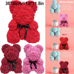 2e2ee9ea465 2019 Romantic Valentine s Day Plush Rose Teddy Bear Cute Christmas Wedding  Present With Box Wholesale Dropshipping Pudcoco Hot