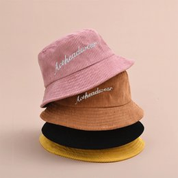 wholesale corduroy hats Australia - 2020 China Guangdong Hat Manufacturer Factory OEM ODM Small Order Custom Fitted Corduroy Bucket Hat