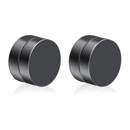 $enCountryForm.capitalKeyWord UK - Korean Fashionable Double Sided Circular Magnet Male Artificial Ear Nail Stainless Steel Ear-hole-free Clip Earrings Black