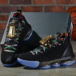 watches roses NZ - Black Metallic Gold-Rose Frost James 16 KC Gold Lacelocks Mens Athletic Sports Trainer New lebron 16 Watch The Throne Men Basketball Shoes