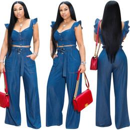 $enCountryForm.capitalKeyWord NZ - Women Two Piece Jeans Outfits Set Blue Denim Ruffled Bandage Sleeveless Zipper V Neck Crop Top Pocket Long Wide Leg Jean Suit Sashes