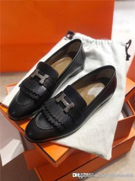 high end black boxes UK - 2020 Classic simple casual loafers for ladies handmade high-end imported leather matching casual leather shoes With box