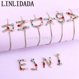 $enCountryForm.capitalKeyWord Australia - 10pcs Fashion Jewelry Crystal Cz Zircon Micro Pave A- Z Letter Connector Bracelets For Women Gold Slide Chains Initial Bracelet J190719