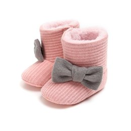 $enCountryForm.capitalKeyWord Australia - Baby Shoes winter baby toddler boots cute butterfly-knot Knitted Yarn vamp warm boots toddler Child winter shoes #E