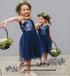 Royal Wedding Yellow Dress Australia - Royal Blue Pretty Flower Girls Dresses 2019 Sleeveless jewel Neck Tea length Sequins Tulle Little Baby Kids Formal Wedding Party Gowns Cheap