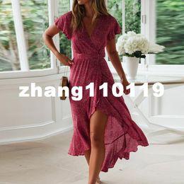 $enCountryForm.capitalKeyWord Australia - Summer Beach Dress Women Floral Print Long Chiffon Bohemian Dress Short Sleeve Boho Style Maxi Dress Ruffles Sundress Vestidos